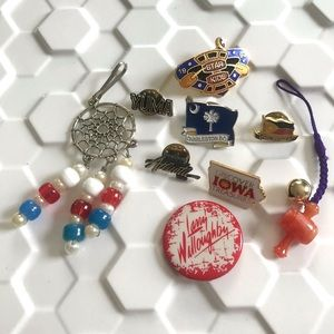 Vintage 70's 80's enamel pins & charms lot of 9